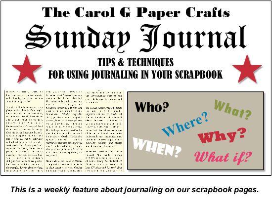 Sunday Journal scrapbook journaling