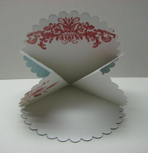 Scallop card partially open