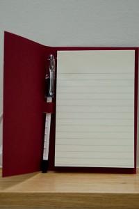 Notepaper holder inside