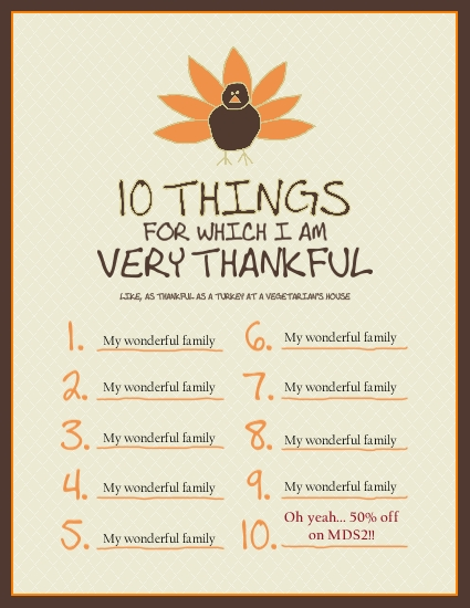 10 Things thankful template